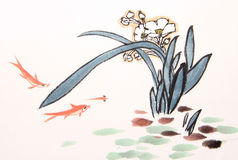 Ink orchid drawing Stock Photography
