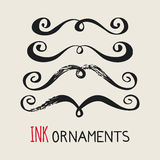 Ink ornaments moustaches Royalty Free Stock Photo