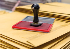 Ink pad and wooden rubber stamp Royalty Free Stock Photo