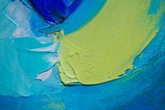 Fragment. Multicolored texture painting. Abstract art background. oil on canvas. Rough brushstrokes of paint. Closeup of a paintin royalty free stock photo