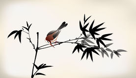 Ink painted bamboo and bird Stock Photography