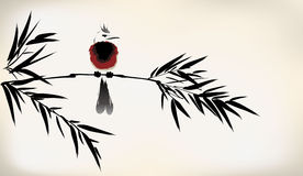 Ink painted bamboo and bird Stock Photo