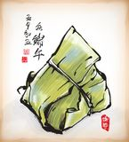 Ink Painting of Chinese Rice Dumpling Stock Photography