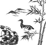 Ink painting - duck in the bamboo forest Stock Photography