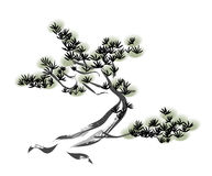 Ink painting pine tree Royalty Free Stock Photography