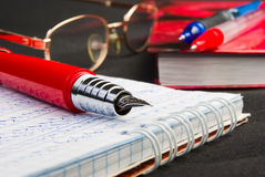 Ink pen. Red ink pen lying on a notebook Stock Images