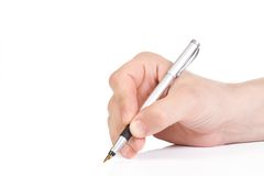Ink Pen And Male Hand Royalty Free Stock Photography