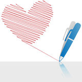 Ink pen drawing a red love letter heart on paper. A ball point pen drawing or writing a love letter heart in red ink on white copyspace Royalty Free Stock Image