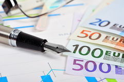 Ink pen and euro Stock Photo
