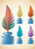 Ink pen feather and bottle cartoon icon set Stock Image