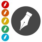 Ink pen Icons set. Vector icon royalty free illustration