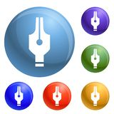Ink pen icons set vector royalty free illustration