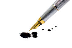 Ink-pen and ink blot Stock Photography