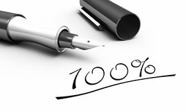 Ink pen and 100 percent. Closeup of ink pen with writing saying 100 percent on white background Royalty Free Stock Photo