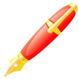 The ink pen of red colour. Stock Photo