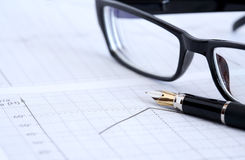 Ink Pen And Spectacles Stock Image