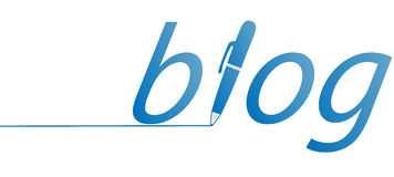 Ink pen writes a blue blog line Royalty Free Stock Image