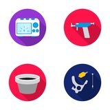 Ink, piercing machine and other equipment. Tattoo set collection icons in flat style vector symbol stock illustration Royalty Free Stock Images