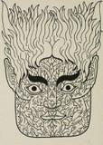 Ink portrait/mask illustration Stock Photography