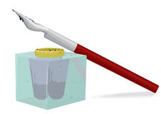 Ink-pot and pen Stock Photo