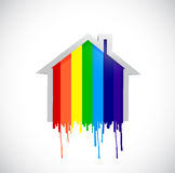 Ink rainbow drop home illustration design Stock Image