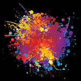 Ink rainbow rnd. Round rainbow ink splat with halftone dot and black background Royalty Free Stock Images