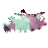 Ink red green splatter watercolour dye liquid watercolor macro spot blotch texture isolated on white background Royalty Free Stock Photo