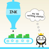 Ink refilling station Stock Photo