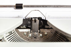 Ink ribbon in mechanical typewriter. Close up Royalty Free Stock Photography