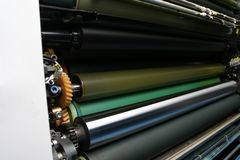 Ink Rollers On Offset Printing Machine Stock Photography