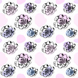 Ink roses in pastel colors seamless pattern or background. stock illustration