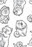 Ink samoyed puppies in the snow. Vector endless background. Black and white seamless contours pattern with cute siberian husky and samoyed puppies in the snow Royalty Free Stock Image