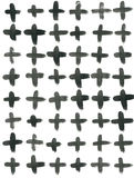 Ink Seamless Cross Pattern. Abstract print with brush strokes. Monochrome hand drawn texture. Artistic tileable Stock Photos