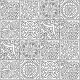 Black and white morocco mosaic design. Abstract ornamental tile in contour. Ink seamless patchwork tile. Beautiful black and white pattern in moroccan style Stock Photos