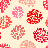 Ink seamless pattern with  flowers in sketchy style. Artistic ba Stock Photo