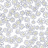Ink seamless pattern with  flowers in sketchy style. Artistic ba Royalty Free Stock Photos
