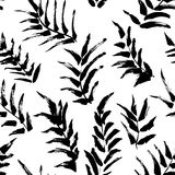 Ink seamless pattern with palm leaves in black and white colors. Stock Images