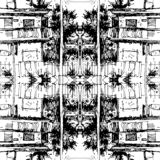 Ink Seamless pattern with street and buildings. Landscape. Travel Background. Street buildings. Hand drawn sketch royalty free stock images
