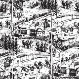 Ink Seamless pattern with street and buildings. Landscape. Travel Background. Street buildings. Hand drawn sketch stock photo