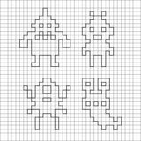 Ink silhouette of pixel monsters. Royalty Free Stock Photo