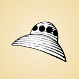 Ink Sketch of an Alien Spaceship with White Fill Royalty Free Stock Images