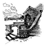 Ink sketch drawing of ancient fort in Petrovac Montenegro. Original black and white ink sketch drawing of ancient fort in Petrovac Montenegro, Balkans, Adriatic Stock Photos