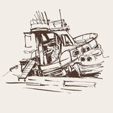 Ink sketch drawing of boat in marine, travel vector illustration Royalty Free Stock Photography