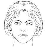 Ink sketch head women face pattern Stock Image
