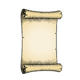 Ink Sketch of an Old Banner with Beige Fill Royalty Free Stock Image