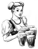 Girl with a beer mugs. Ink sketch of a pretty Oktoberfest waitress with beer mugs stock illustration