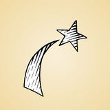 Ink Sketch of a Shooting Star with White Fill Royalty Free Stock Photos