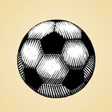 Ink Sketch of a Soccer Ball with White Fill Royalty Free Stock Photos
