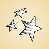 Ink Sketch of Stars with White Fill Royalty Free Stock Photography