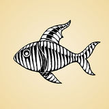 Ink Sketch of a Striped Fish with White Fill Royalty Free Stock Photos